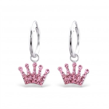 Pink Crystal Crown Hoops